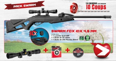 Pack Cerise GAMO 2020 - Pack Swarm Fox 10X 4,5mm synthétique. - Carabine GAMO Swarm