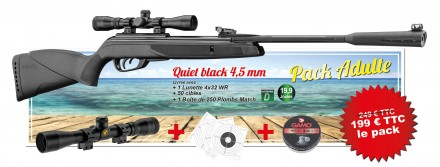 Special SUMMER GAMO 2020 Pack - Adult Pack 19.9 J. - QUIET BLACK Rifle & accessories