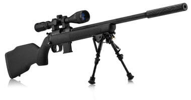 Photo Pack Webley Scott Carbone avec bipied, fourreau et lunette Nikko Stirling 3-9x40